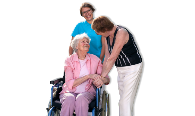 Caregiver and two elderly woman